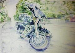Harley Davidson Electraglide in Blue photo by greatartist