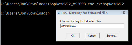 Extracting AspNetMVC2_2008.exe