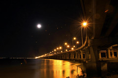 Penang Bridge view during full moon's night photo by tiantan