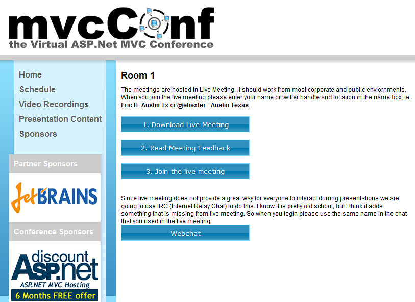mvcConf - Room Landing Page