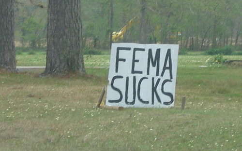 Roadside expression: FEMA SUCKS
