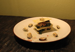 Mille-feuille of mussels and baby spinach
