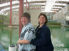 Youngest son and wife, waterside at Union Station