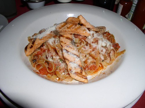 fettuccini with grilled Salmon