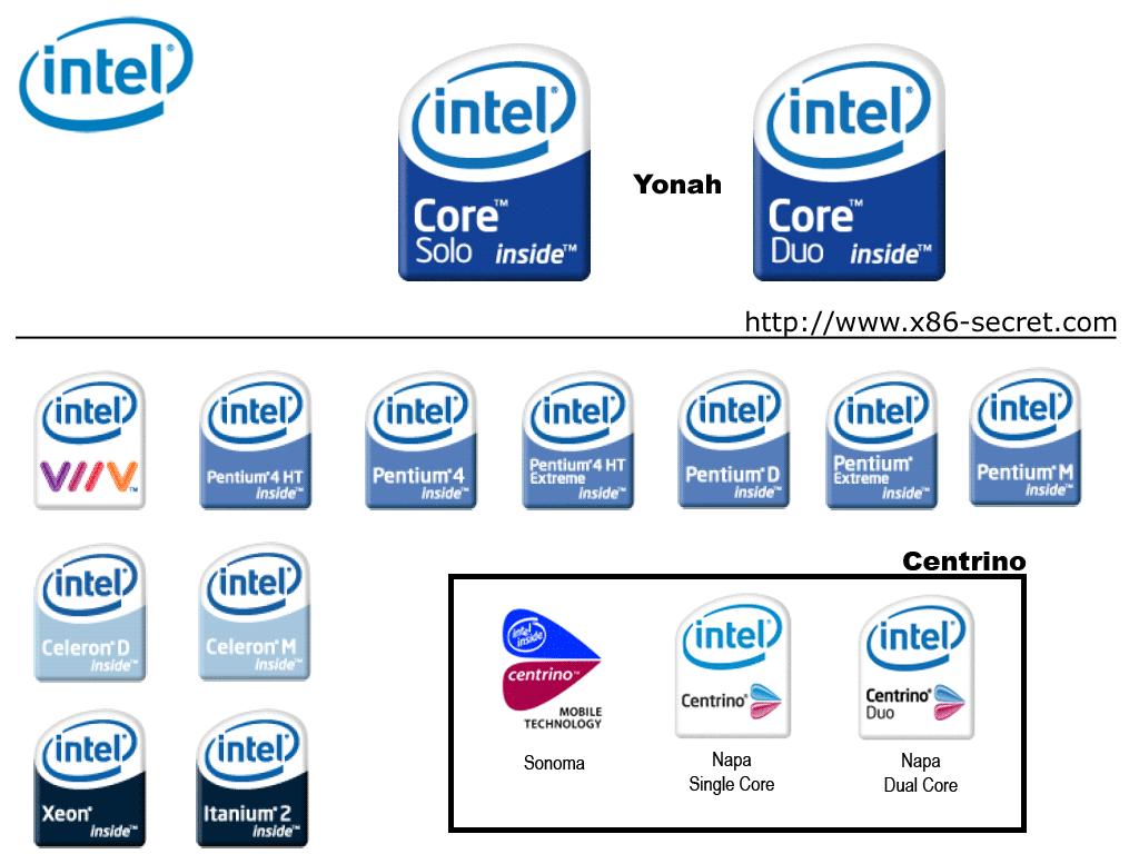 la serie completa de los nuevos logos de intel