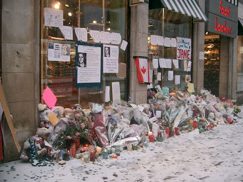 The Makeshift memorial after a recent snowfall...