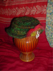 Crocheted hat from Shetland/Mohair