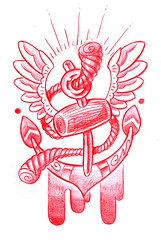 New School Anchor Tattoo Flash photo by Krusty-Cola