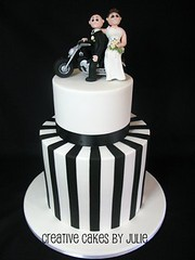 Black and white Harley Davidson wedding cake photo by Creative Cakes by Julie