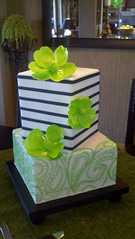 Paisley & Stripes wedding cake photo by Designer Cakes By April
