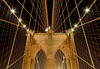 Suspension cable network and symmetry of Brooklyn Bridge