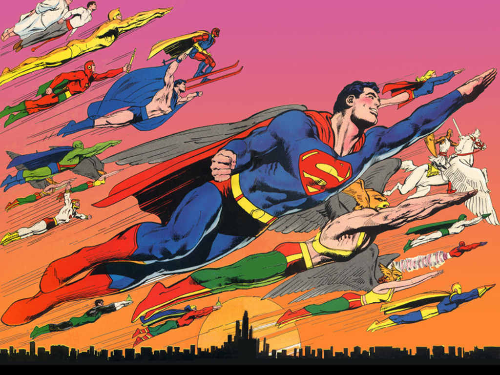 Neal Adams DC Heroes flying around Superman