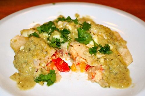 Recipe for Week 2: Roasted Enchiladas w Creamy Tomatillo Sauce and Melted Cheese
