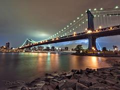 Manhattan Bridge Lightning Bolt from Brooklyn - Empire Fulton Ferry State Park photo by DiGitALGoLD