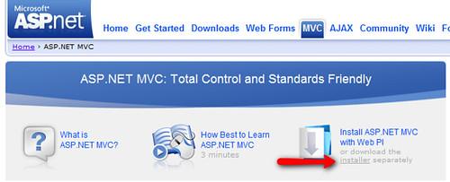ASP.NET MVC Installer link