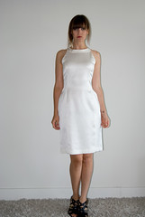 SOLD OUT!  Silk Cut Out Dress- Vintage (VTG) 1980s 80s- White Silk Bandage Dress- S Small photo by SalonMystique