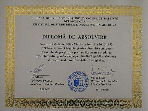 Диплом учителя Религии в Молдове - евангельская программа