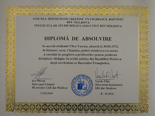 Diplomă profesor Religie Moldova - curriculum evanghelic