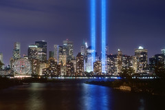 The September 11th Tribute in Lights Memorial, New York City photo by mudpig
