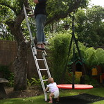 Amy helping Dad decorate the garden<br/>18 Jul 2010
