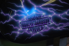 Harley Davidson Motorcycle Tank with Airbrushed Pearl Lightning Effect photo by jtscustoms