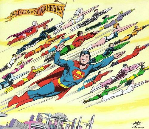 Legion of Super-Heroes by Neal Adams from DC Calendar 1976