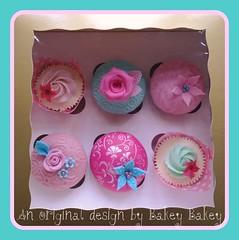 Cath Kidston inspired cupcake giftbox photo by Bakey Bakey