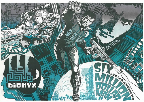Six Million Dollar Man poster by Mike Hinge from MediaScene 10 1974