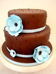 Chocolate and Blue Two Tier Cake photo by purecakes (lizzie)