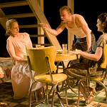 Natasha Lowe (Blanche), Matt Hawkins (Stanley), and Stacy Stoltz (Stella) in A STREETCAR NAMED DESIRE at Writers Theatre. Photos by Michael Brosilow.