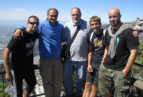 Carl Vasile Filat Dambman on Table Mountain with students from CIS