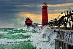 """September Gale""  Grand Haven Breakwater Lighthouse is located in the harbor of Grand Haven, Michigan photo by Michigan Nut"