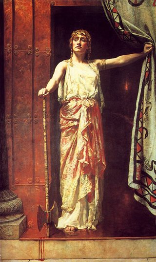 Clytemnestra After the Murder (1882), by Hon. John Collier (1850-1939) http://tonykeen.blogspot.com/2006_02_01_archive.html