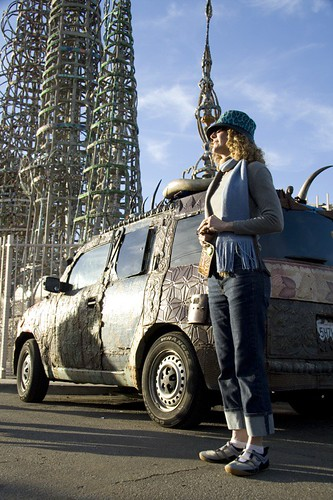 Joanne in front of the Element in front of Watts Towers