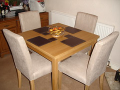Our dining room table and chairs