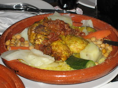 Les couscous du poulet (chicken cooked in spices served with steamed cous cous) - £13.95