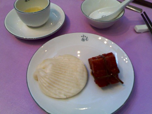 The red pork thingy with a steamed bun
