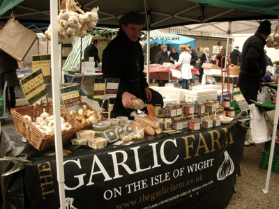 Garlic Farm's stall at the Kensington Farmer's Market