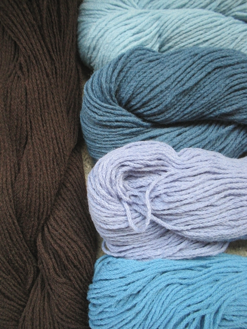 blue hues and dark brown yarn