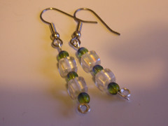Earrings: Green and Clear