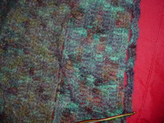 Closeup of Crocheted Hand-dyed Mohair Shawl
