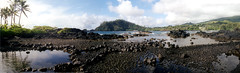 Panorama of Hana Bay, on Maui, Hawaii in June 2000.