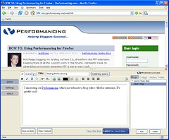 performancing blog editor