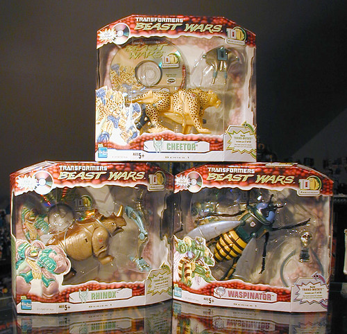 10th Anniversary Beast Wars Cheetor, Rhinox, and Waspinator