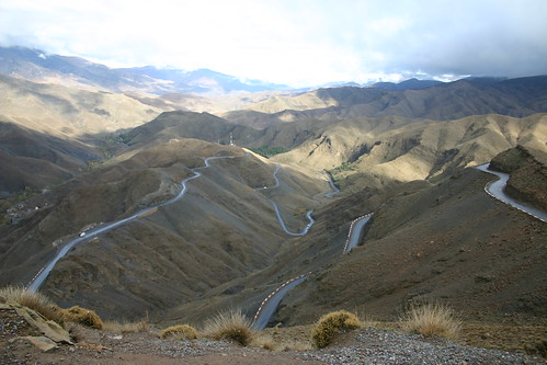 Tough riding up the Tizi-n-Tichka pass (2260m)