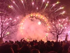 Amazing New Year's Eve fireworks over The London Eye taken by Diamond Geezer
