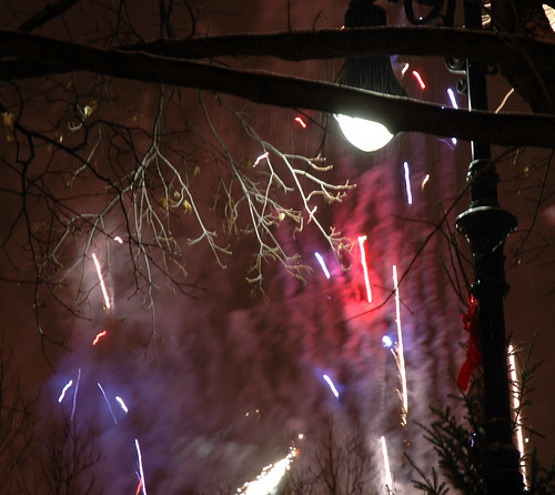 Fireworks and snow
