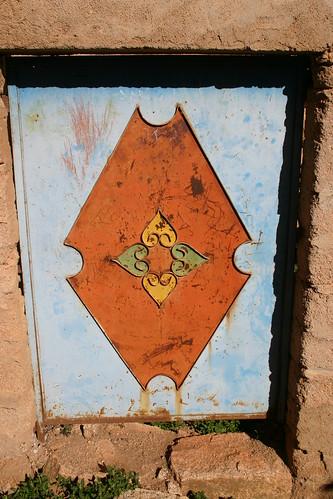 Decorative front door in Tazekka village, Tafraoute.