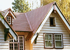 house with metal roof shingles