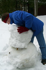 Andrew struggling with the snowman